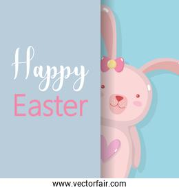 rabbit famale to happy easter holiday