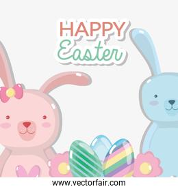 happt rabbits with eggs easter design
