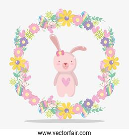 rabbit female with flowers and eggs design