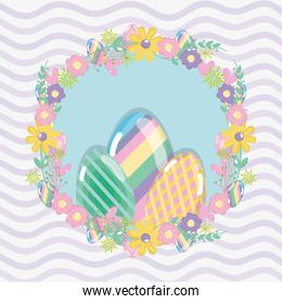 happy eggs easter with flowers design