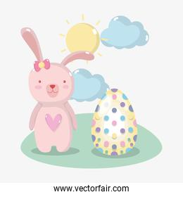 rabbit female and egg easter design
