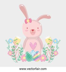 happy eggs easter with rabbit female