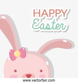 rabbit female with happy easter design