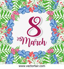 flowers design with fucsia march 8