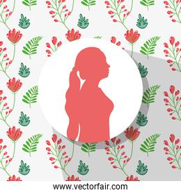 pink woman silhouette with flowers background