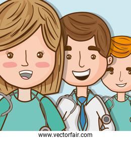 professional doctors with stethoscope and uniform specialist