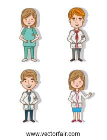 set professional doctors with stethoscope and uniform