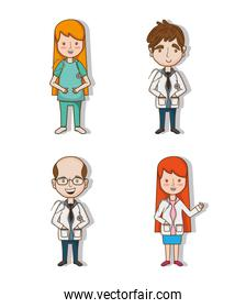 set professional doctors with uniform and stethoscope