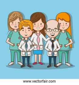 professional doctors with stethoscope tool and uniform
