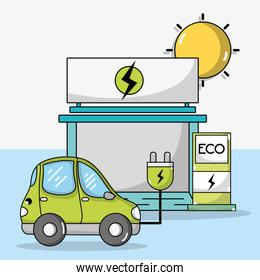 electric car with power cable and recharge station