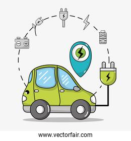 electric car transportation with power cable