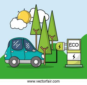 energy recharge station with electric car