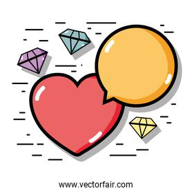 linear diamonds with heart and chat bubble icons
