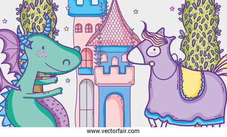 Dragon in magical world  and castle