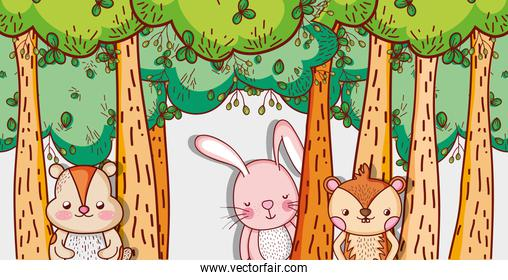 Cute animals in forest cartoons