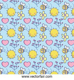 Cute bee and nature pattern background