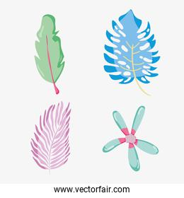 Flower and leaves punchy pastel collection