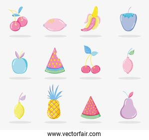 Punchy pastels fruits collection