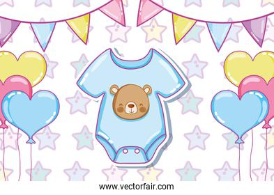 Cute baby clothes and balloons