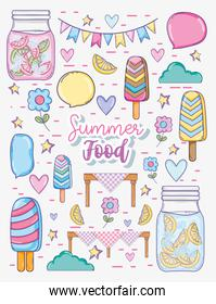 Summer food and juice