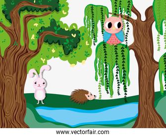 Cute animals in the forest