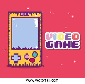 Retro videogame console and vide game lettering