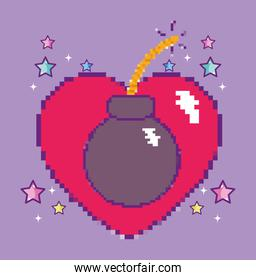 Pixelated videogame heart with bomb