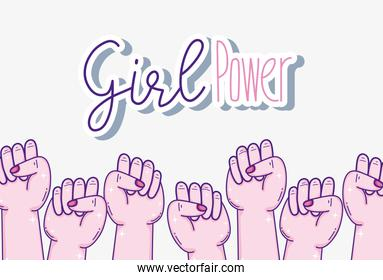 Girl powers with hands clenched