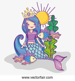 woman mermaid wearing crown and fishes