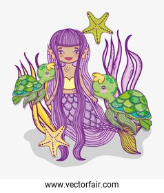 woman mermaid with turtles and stars in the plants