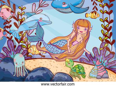 beauty mermaid with animal and tropical plants
