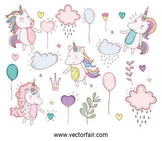 unicorns trendy with clouds and plants leaves