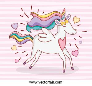 cute unicorn running with hearts and hairstyle