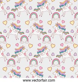 cute unicorn with rainbow and clouds background