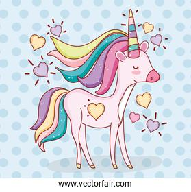 cute unicorn animal with hearts and hairstyle