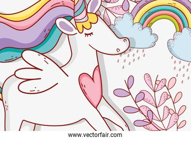 cute unicorn with rainbow clouds and plants