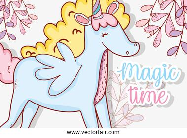 cute unicorn with wings and plants leaves