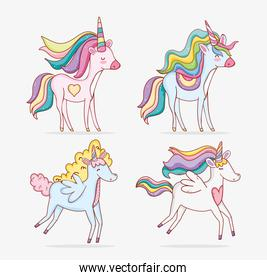 set unicorns animal with hairstyle and horn