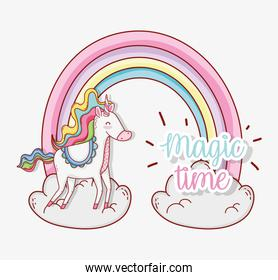 cute unicorn with horn with rainbow and clouds