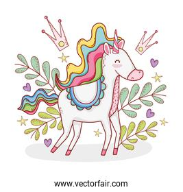 cute unicorn with plants leaves and crowns