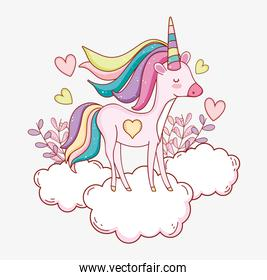 cute unicorn in the cloud with hearts and plants