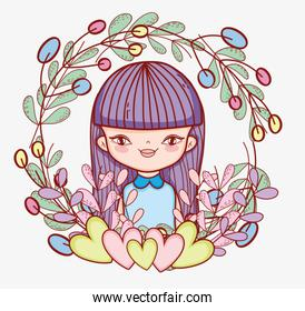 beauty girl with hairstyle and plants leaves