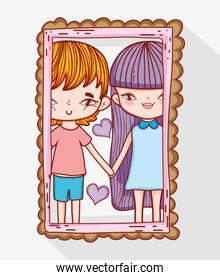cute romantic couple with hearts in the mirror