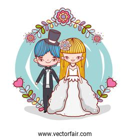 girl and boy couple marriage with flowers plants