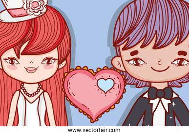 girl and boy couple marriage with heart