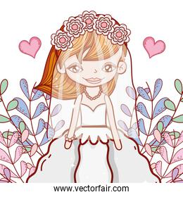 girl marriage with wedding dress and heart