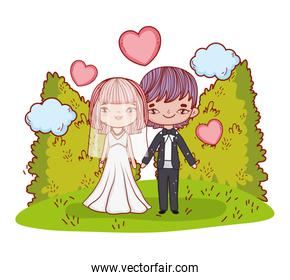 girl and boy couple with hearts and clouds