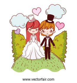 girl and boy couple with clouds and bushes