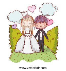 girl and boy couple marriage with bushes and clouds