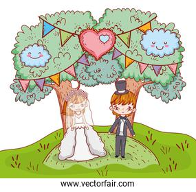 girl and boy clouple marriage with trees and heart